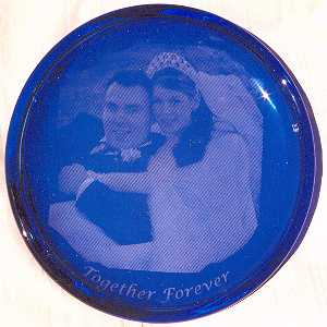 Etched Cobalt Glass Plate