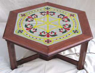 Solid Mahogany Table with etched and coloured mirror top